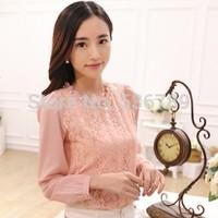 2014 autumn and winter women lace chiffon blouse roupas femininas cute beading lace top basic shirt plus size S-XXL