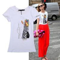 New Arrival 2014 fashion women clothing casual summer t shirt print pattern slim o-neck tops short-sleeve t-shirt
