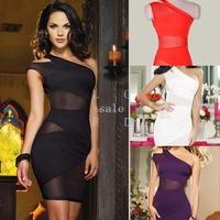 New 2014 Sexy Nightclub Bandage Dress Mini Clubwear Dress Summer Sexy Women's Party Evening One Shoulder Dress SV000460
