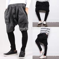 Sweatpants Men Hip Hop Dancing Drop Crotch Pants Men 2014 Jogger Pants Autumn Sportswear Outdoor M-L-XL-XXL Pockets Harem Pants