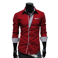 Wholesale 4 Colors Popular Men's Casual Fashion Striped Long-Sleeved Personalized Decoration Slim Shirt CS925