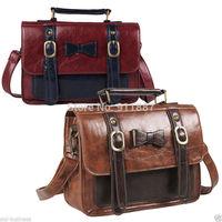 Hobo Bowknot  Women Messenger Bags Handbag Shoulder Tote Bag Purse Satchel PU Leather Red Coffee