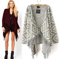 Women's spring high fashion long sleeve tassel hem assymatric knitting cardigan, free shipping