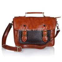 New Vintage Preppy Style Women Handbag Weave Leather Handbags Retro Bag Messenger Bags Coffee