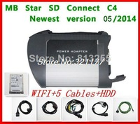 DHL free shipping 2014.05 MB Star  C4 MB SD Connect Compact 4 Auto diagnostic tool  MB Star SD Connect 4 with wifi HDD