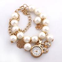 1pcs 2014 New Fashion Women Rhinestone Wristwatches Chain Band Bracelet Watches Ladies Quartz Watch White Discount