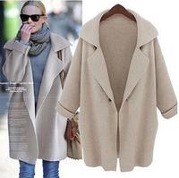 2014 new fashion Europe women elegant Solid Color irregular Knitted Cardigans stylish Casual Slim sweater coat Winter Designer