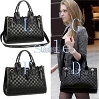 2014 Fashion PU Leather Women Messenger Bag Mango Plaid Bucket Women Leather Handbags B16 SV000662