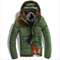 Free Shipping New Winter Men's Fashion Casual Slim Down Jacket Color Matching Hooded Warm Coat