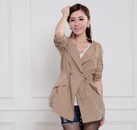 Coat 2014 LP12081520-2 New Arrival Hot Sale Charming Elegant Fashionable Stylish Loose Pure Color Drawstring Long Coat Khaki