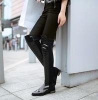 free shipping snow woman 2014 genuine leather knee high winter warm boots botas femininas size  8.5 9.5 10 11 12