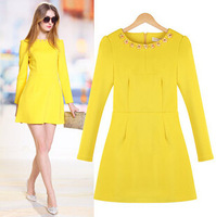 European new large size women spring fashion Slim thin long sleeve dress,beading crystal women dress winter,free shipping,L0903