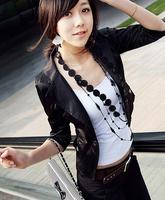 Coat 2014 Y10081304-1New Arrival Hot Sale Charming Elegant Fashionable Korean Lapel 3/4 Sleeve Button Coat Black