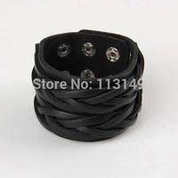 High Quality Fashion Snap Button Wide Braided Black Leather Bracelets LB-HF002