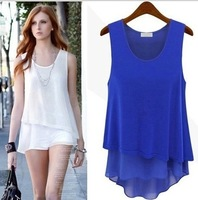 Summer 2014 new women candy color all-match splicing of false two Camisole Chiffon Dress Shirt