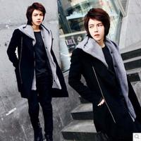 Free shipping new fashion 2014 winter male korea style cotton overcoat jacket casaco masculino thickening trench coat men