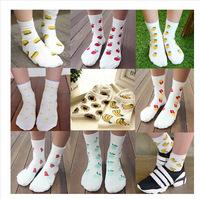 9styles ! 5pairs/lot Korean cartoon yellow duck apple banana sunflower cotton socks women meias casual fruit printed socks