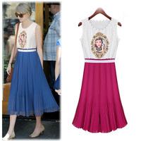 Summer women's 2014 print lace patchwork chiffon pleated one-piece dress bohemia full dress