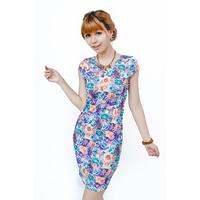 summer dress 2014 Free Shipping 7 colors S-3XL, women's fashion print loose dress plus size dress Print Flare Floral dress