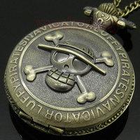 Antique Bronze Pirate Skull One Piece Quartz Retro Pocket Necklace Watch P28