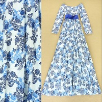 NEW IN 2014 Autumn High Quality Full Dress Women's Stunning Blue and White Porcelain Printed Tied Waist Floor Length Prom Dress
