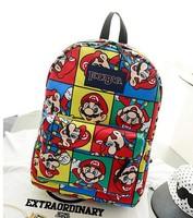 Fashion vintage Harajuku owl women sport zipper backpack,super mario children cartoon school bag,printing canvas mochilas