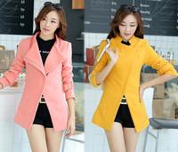 2014 Luxury British Style Women Winter Thick Wool Sobretudo Outerwear Coat Slim Ladies Fashion Trench Coats Desigual Overcoat