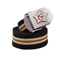 Fashion Men Women Canvas belt male Metal Buckle designer belts Waist Strap Stripe Unisex Military Army Tactical Belt