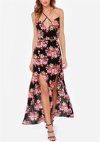 V criss cross neck sexy vintage floral flower side split cocktail prom dress new