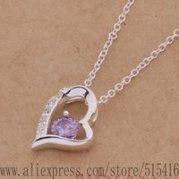 JZ-AN388 925 sterling silver Necklace 925 silver fashion jewelry pendant heart set with purple stone /cwaalnha bppakgwa