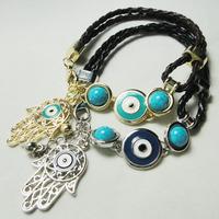 Wholesale!!Handmade Charms Bracelet Fatima Hand Turquoise Evil Eye Charm Hamsa Bracelet  free shipping1688