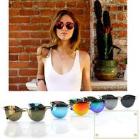 Newest 2014 Refletive  Women Sunglasses Brand Designer High Quality Feamle Sun glasses Cateye Lens Coating Oculos De Sol Geek
