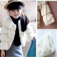 2014 Winter Children Fur Coat Girls Winter Imitation Rabbit Fur Parkas Princess Western Style Luxury Fur Outwear Free Shipping