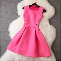 2014 New Desigual Sleeveless Brand Woman Dress Vintage Button Hexagon Splice Dress Temperament Elegant Runway Celebrity Dresses