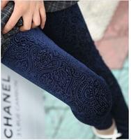 New 2014 Fashion Ladies Pleuche Burnt out Leggings Spring and Autumn Women Printed Pencil Legging Pants Female Work Clothing