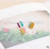 4pcs/lot South Korea's cute act the role ofing is tasted Asymmetric stripe drip sweet stud earrings