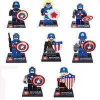 8 Sets Super Hero Series Minifigure Building Toys Captain America Blocks Toys