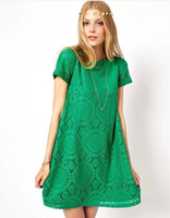 2014 spring summer new women clothing lace short sleeve  back chiffon sexy casual lace dress  Women's Dress
