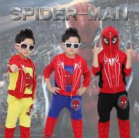 wholesale 2014 new arrival autumn boy suit set cartoon spider-man children clothing 3piece coat+t-shirt+pants free shipping x372