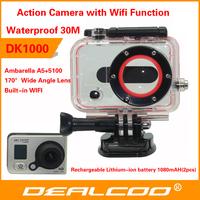 Original ! Action Camera Sport DVR Diving 30Meter Waterproof Camera 1080P Ambarella A5  Helmet Camera Sport Cameras Gopro Style