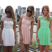 Fashion lace racerback chiffon one-piece dress