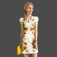 2014 New Fashion Ladies' Summer Puff Sleeve Floral-print Elegant Women Work Wear Bodycon Pencil Dress Plus Size