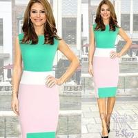 2014 New Ladies Back Zipper Business OL Office Dress Women Wear Work Fitted Stretch Casual Wiggle Pencil Dress Vestidos Green