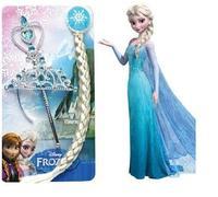 orginal Elsa Anna Frozen Ornaments Frozen Magic Wand Rhinestone Crown Hair Band Hairpiece Girls Wig Children Party Accessories