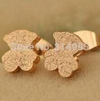 14k rose gold plated titanium steel dull polish bear earrings