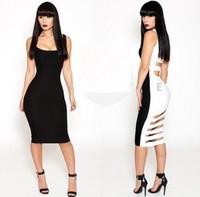 2014 new fashion elegant black white patchwork hollow bodycon bandage dresses sexy clubwear club wear sexy women KM086