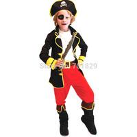 Halloween Children Costume The Neverland Pirates of Caribbean Carnival Boy Costume Pirate Black Halloween Captain Cosplay Wear