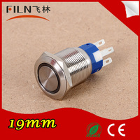 filn 19mm Stainless Steel 12V Ring LED Momentary Push Button Switch