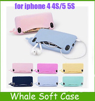1PC Cute Big Mouth Whale Rubber Card Holder Soft Case Cover For Apple iPhone 4 4S 5G 5S Free Shipping
