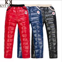 2014 New Arrival Children's 110-150 cm Winter Boys' Girls' Fashion Thicken PU Genuine Kids Down pants Free Shipping KP033(China (Mainland))
